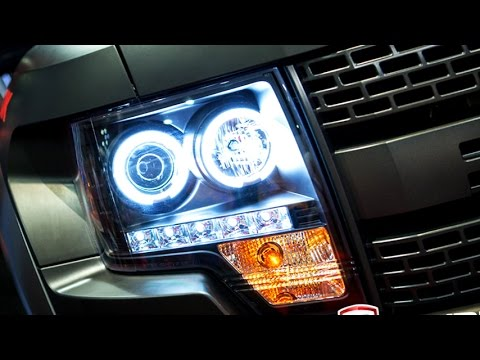 2014 F150 Headlights >> Spyder Black Halo Projector Headlights with LEDs Installation on Ford F-150 - YouTube