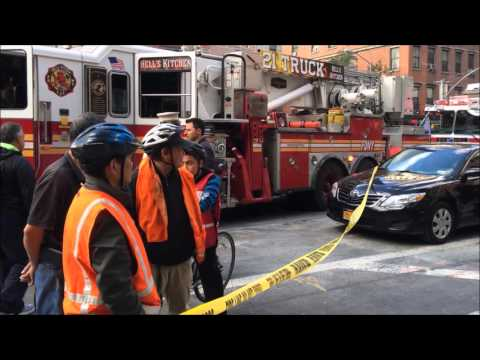 FDNY & NYPD RESPONDING & CONDUCTING A LOW ANGLE UNDERGROUND RESCUE AS MAN FALLS THROUGH CELLAR GATE.