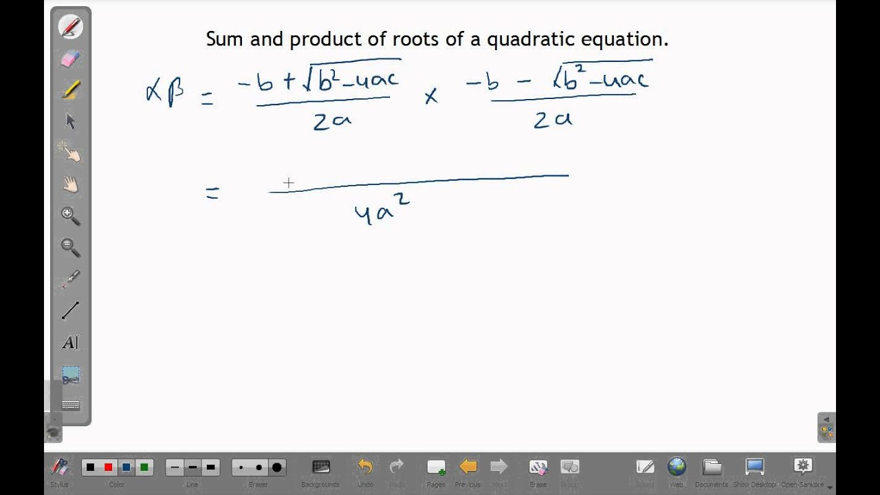 How To Find Sum And Product Of Roots Of A Quadratic Equation