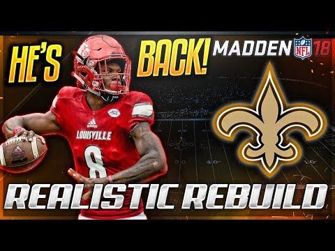 Rebuilding The New Orleans Saints | LAMAR JACKSON IS THE GOAT! | Madden 18 Connected Franchise