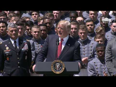 President Trump Presents the Commander in Chief Trophy to the U.S. Military Academy Football Team