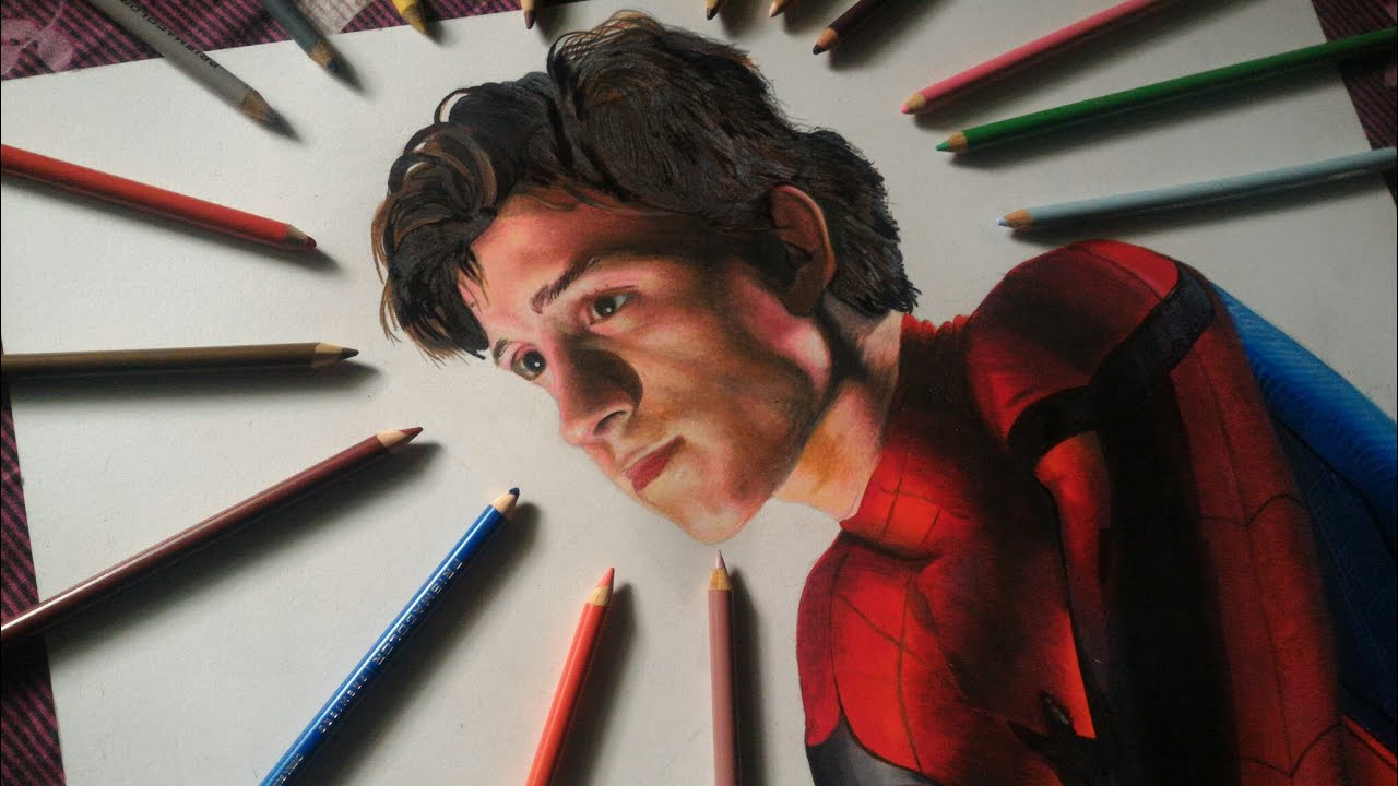 Drawing Tom Holland From Spiderman Homecoming Colored