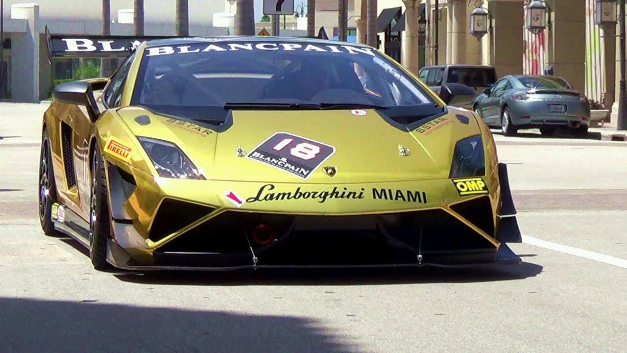 Lamborghini Blancpain Super Trofeo Gallardo.Gold Supercar SUPER SOUND!!    YouTube