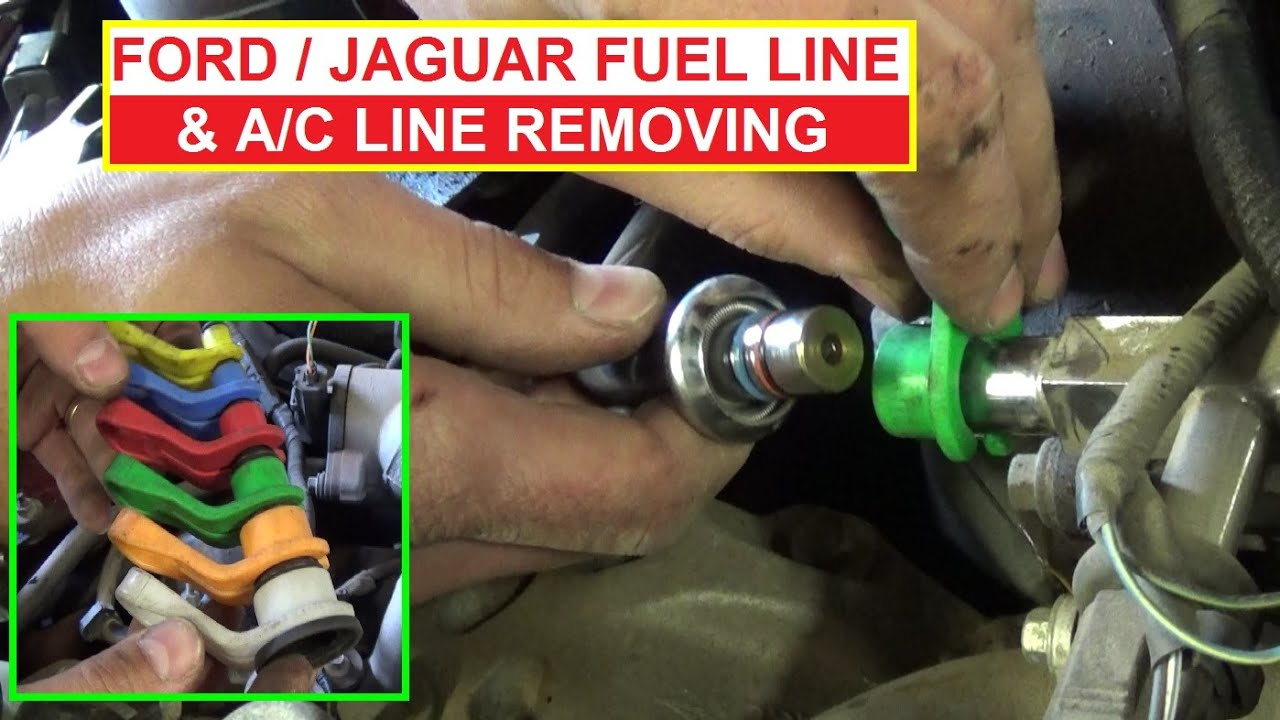 ford fuel line disconnect tool how to disconnect fuel and ac line on ford and jaguar youtube [ 1398 x 786 Pixel ]