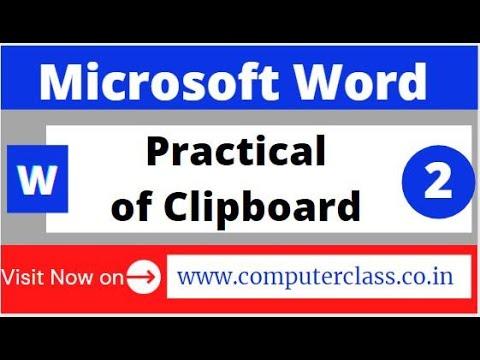 Video 2: Clipboard Practical MS Word cut copy paste format painter