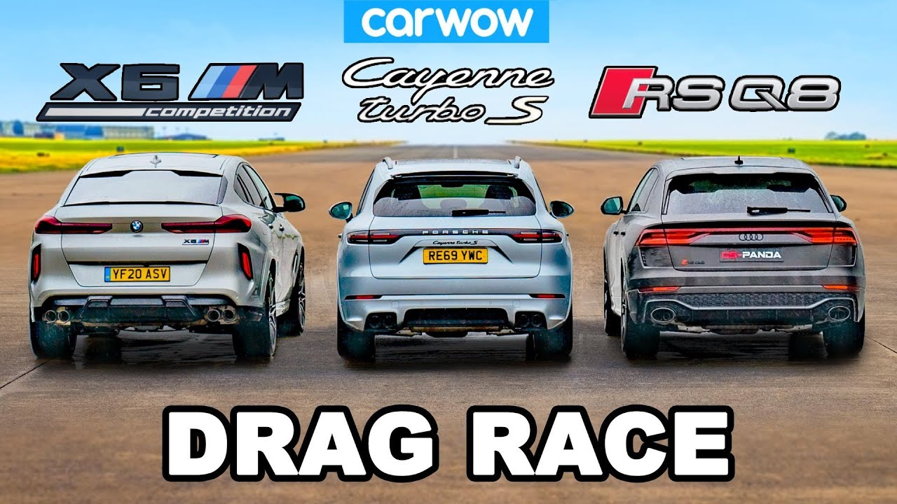 BMW X6M v Audi RSQ8 v Porsche Cayenne Turbo S - DRAG RACE