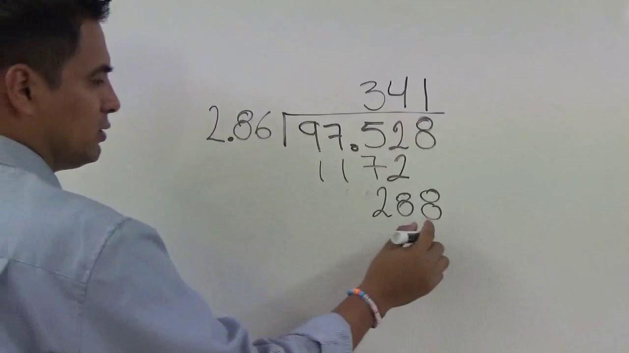 Divisiones Con Tres Cifras En El Divisor Y Punto Decimal En El Divisor Y Dividendo Youtube