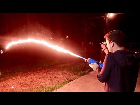 Making A Water Gun Flamethrower!!