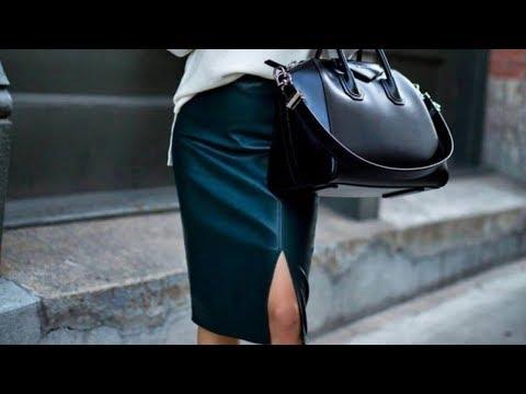 Образы с кожаной черной юбкой. С чем носить черную кожаную юбку. Фото