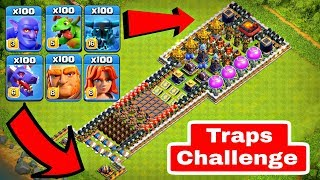 Who Can Survive This Difficult Trap on COC? Trap VS Troops #1