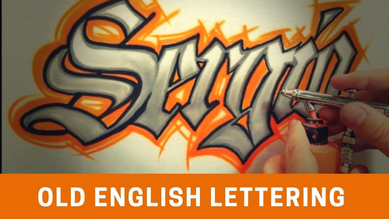 Airbrushed Old English Name Design Paintingtube