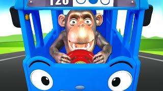 Funny Monkey Singing Wheels On The Bus Nursery Rhymes & Kids Songs