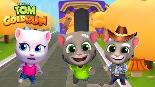 Talking Tom Gold Run Android Gameplay - Talking Tom+Talking Angela vs Cowboy Tom vs Raccoon Robber