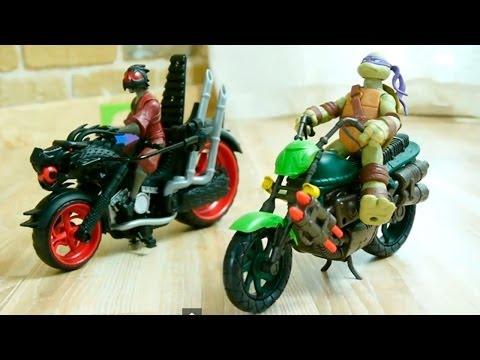 Черепашки Ниндзя. Гонки на Мотоциклах. Игрушки для Детей