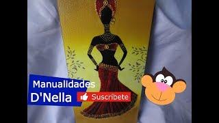 Como Pintar Cuadro de Negrita Africana  con Yute 2 Parte ,By :