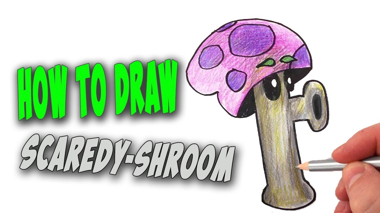 How To Draw Scaredy-shroom from Plants vs Zombies - Mr ...
