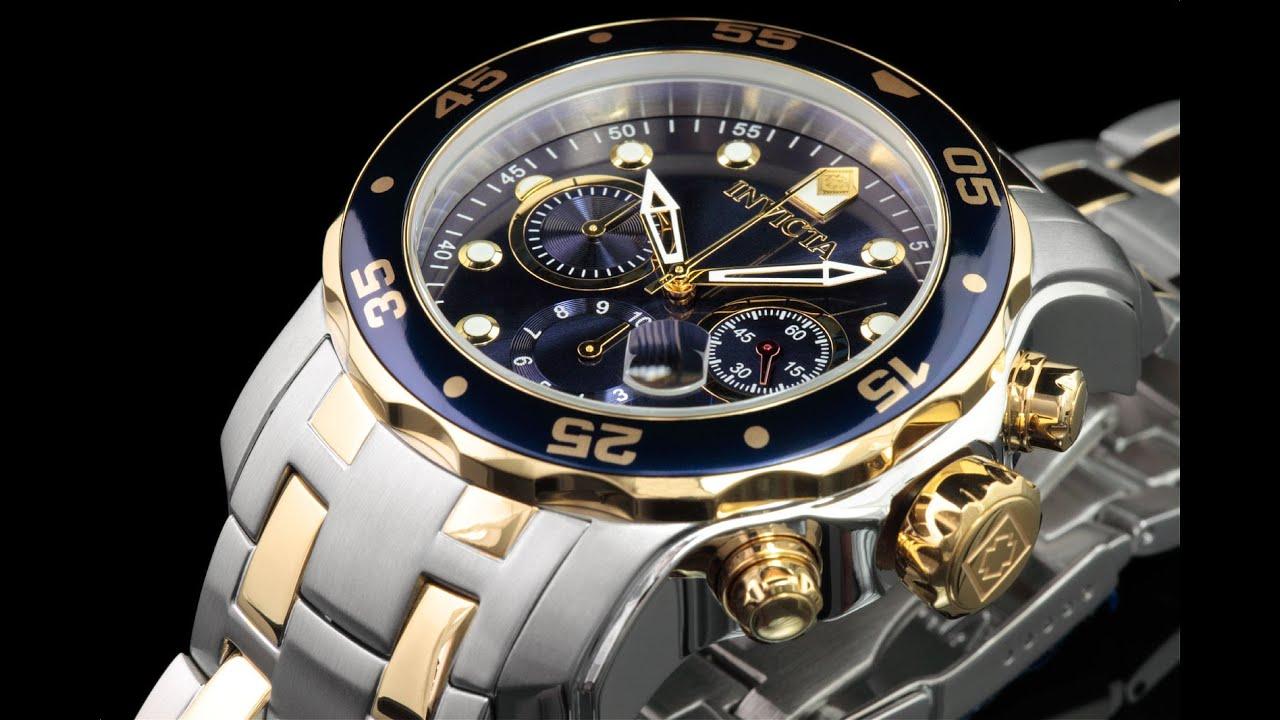 dc7cfe2147d Invicta 0077 48mm Pro Diver Scuba Chronograph Bracelet Watch - YouTube