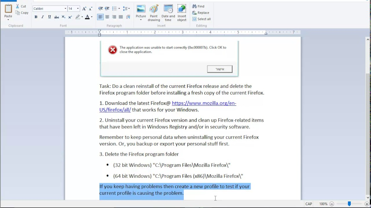 Fix Application Error 0xc000007b When Opening Firefox For Windows