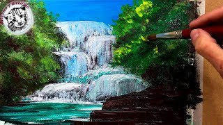 Hoy to Paint with Acrylics Step by Step 3 How to Paint a Waterfall in the Forest with Acrylics