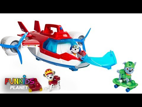 Paw Patrol Skye & Chase on Skate Boards with Robo Dog Flying Air Patroller Plane