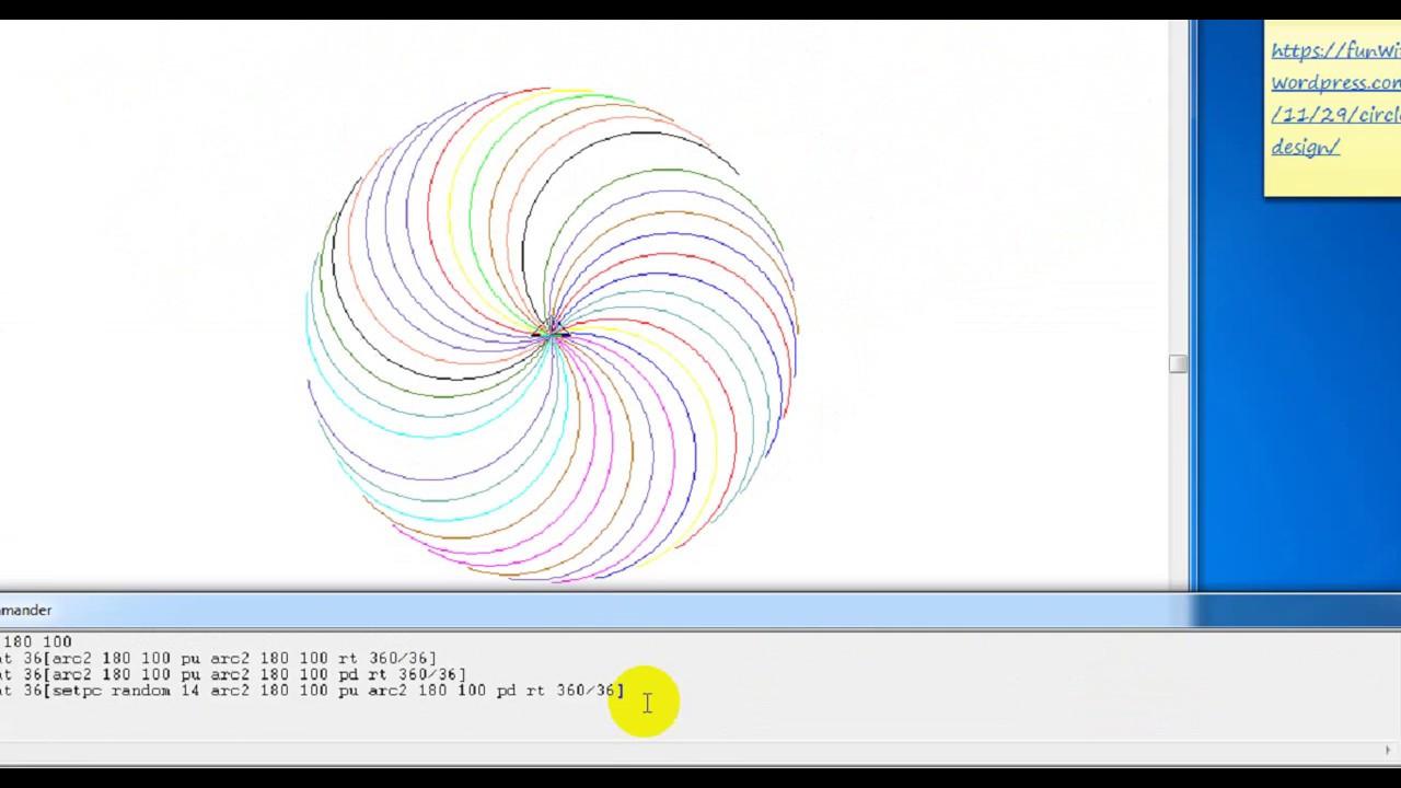 học lệnh mới với arc2, random và repeat vẽ hoa pháo bông trong msw logo #1