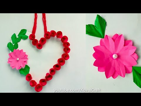 Diy paper flower wall hanging /Simple and beautiful wall hanging / Heart wall hanging KovaiCraft #56