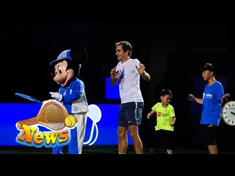 Roger federer attends disney event, dances on court!