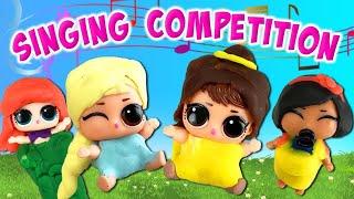 LOL Surprise Dolls Lil Sisters Disney Princess Play-Doh Dress Up Contest Part 2   LOL Dolls Families