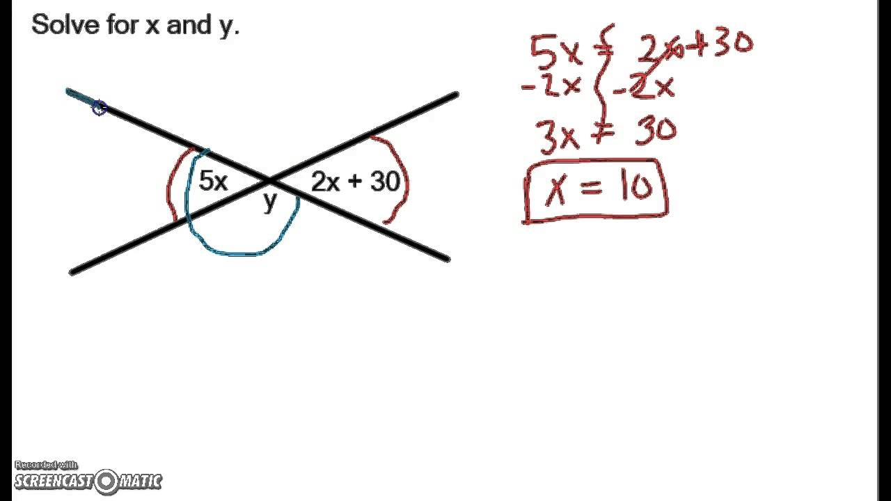 Linear Pair and Vertical Angles Example 3 - YouTube