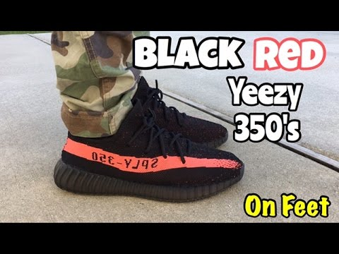 adidas yeezy 350 boost v2 black red on feet adidas superstar black friday