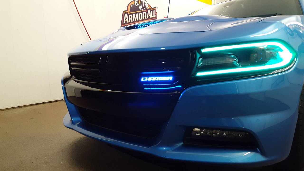 Dodge Charger 2015 Led Badge And Drl Lights Youtube