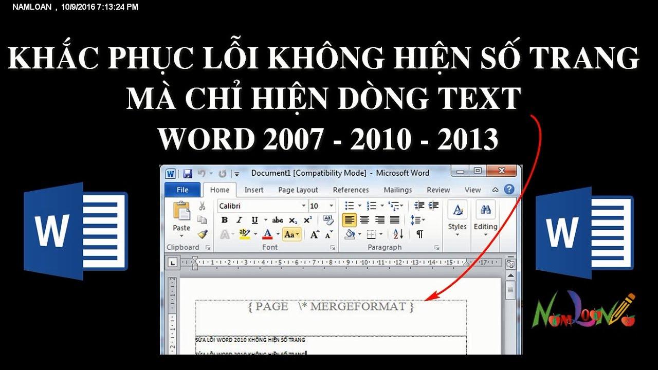 Sửa lỗi không hiện số trang trong word 2007 - 2010 - 2013 |namloan ✔️