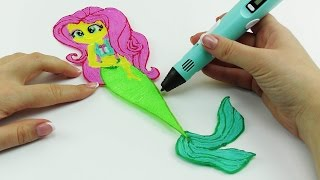 My Little Pony How to Draw Fluttershy Mermaid with 3D PEN Coloring video for kids