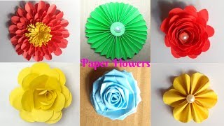 6 Easy Paper Flowers | DIY Flower Making |  Easy Art And Craft | Kagojer Ful Banano