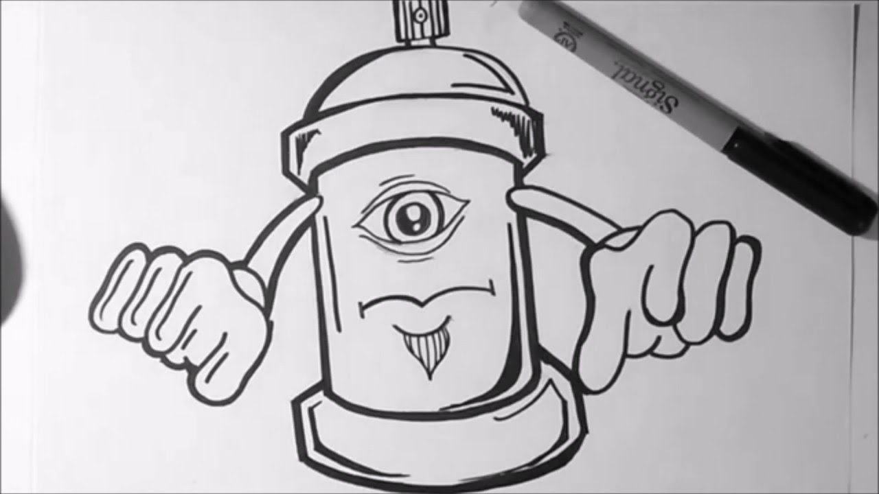 How to draw - graffiti character - One Eye Spray Can - YouTube
