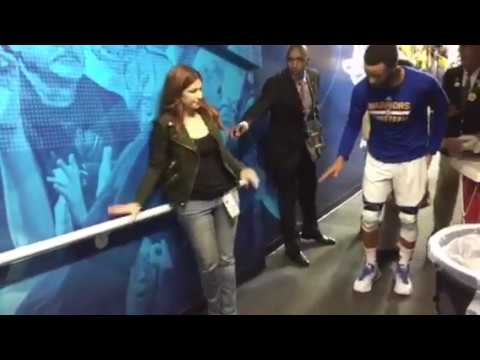 Stephen Curry with ESPN's Rachel Nichols, then tunnel run, pregame Warriors 10 vs Spurs WCF G2