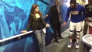 Stephen Curry with ESPN's Rachel Nichols, then tunnel run, pregame Warriors (1-0) vs Spurs WCF G2