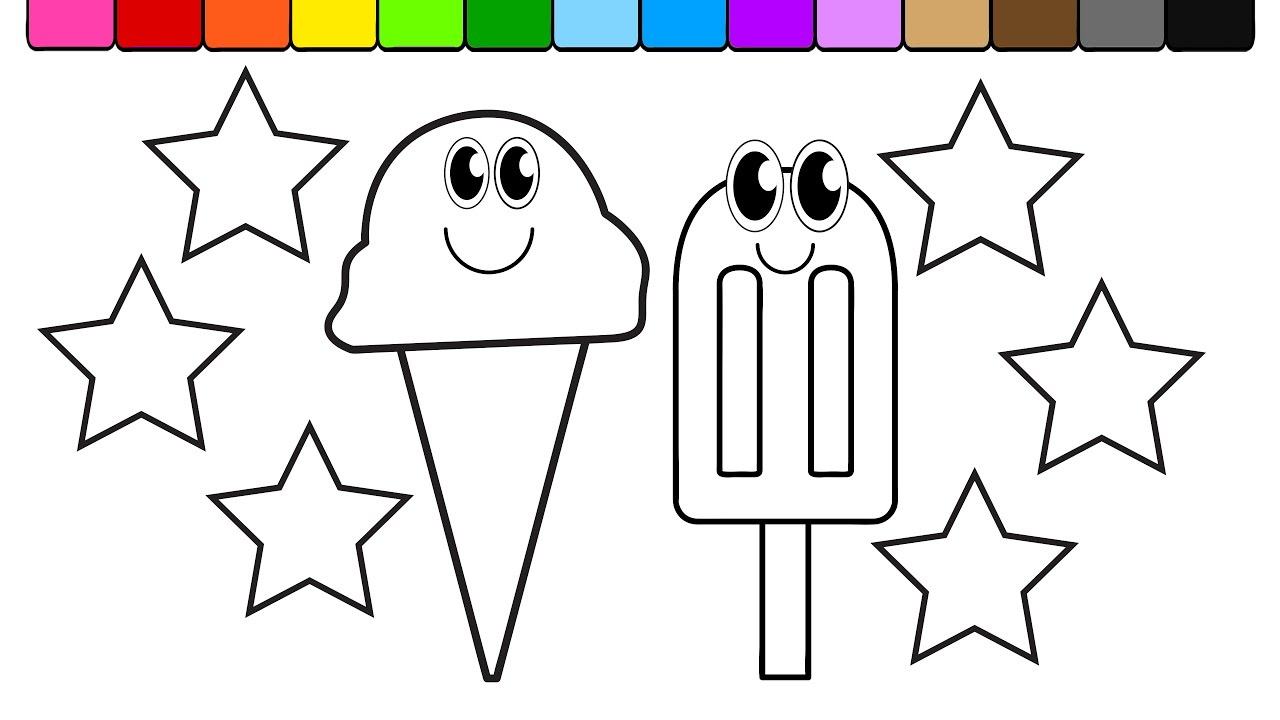 learn colors for kids and color this ice cream and rainbow star coloring page 2 youtube - Star Coloring Page 2