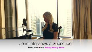 Jenn interviews a Pretty Skinny Show subscriber at the Fairmont Vancouver Hotel