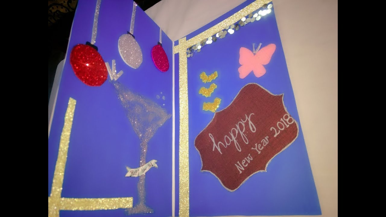 new year 2018 greeting card making ideas for kids how to make new year cards at home