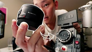 $48 Lens on a RED Cinema Camera   Yongnuo 50mm f1.8 Lens