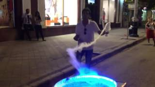 The dancing candy floss maker