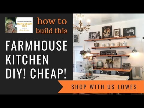 Farmhouse Style Kitchen, DIY, How to, Build ON A BUDGET, Come shop with me, LOWES
