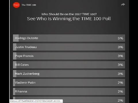 President Rodrigo Duterte winning TIME 2017 world's most influential people poll