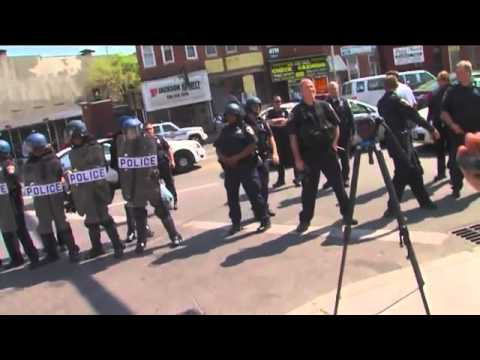 Raw Video: Crowd gathering near police at Penn and North avenues