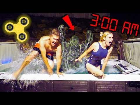 DO NOT SPIN FIDGET SPINNERS AT 3AM IN THE HOT TUB Scary 3 AM Challenge Prank