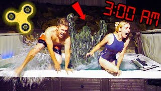 DO NOT SPIN FIDGET SPINNERS AT 3AM IN THE HOT TUB! Scary 3 AM Challenge Prank!