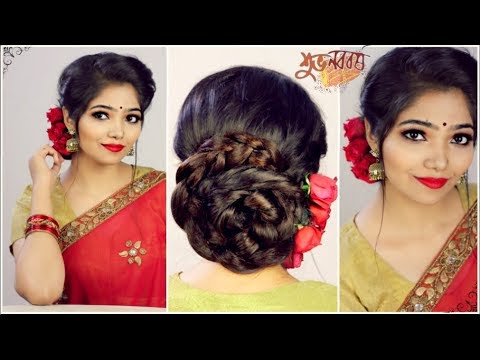 Easy Wedding Hairstyle For Saree Pohela Boishakh Hairstyle 2018 Braided Low Bun With Flowers