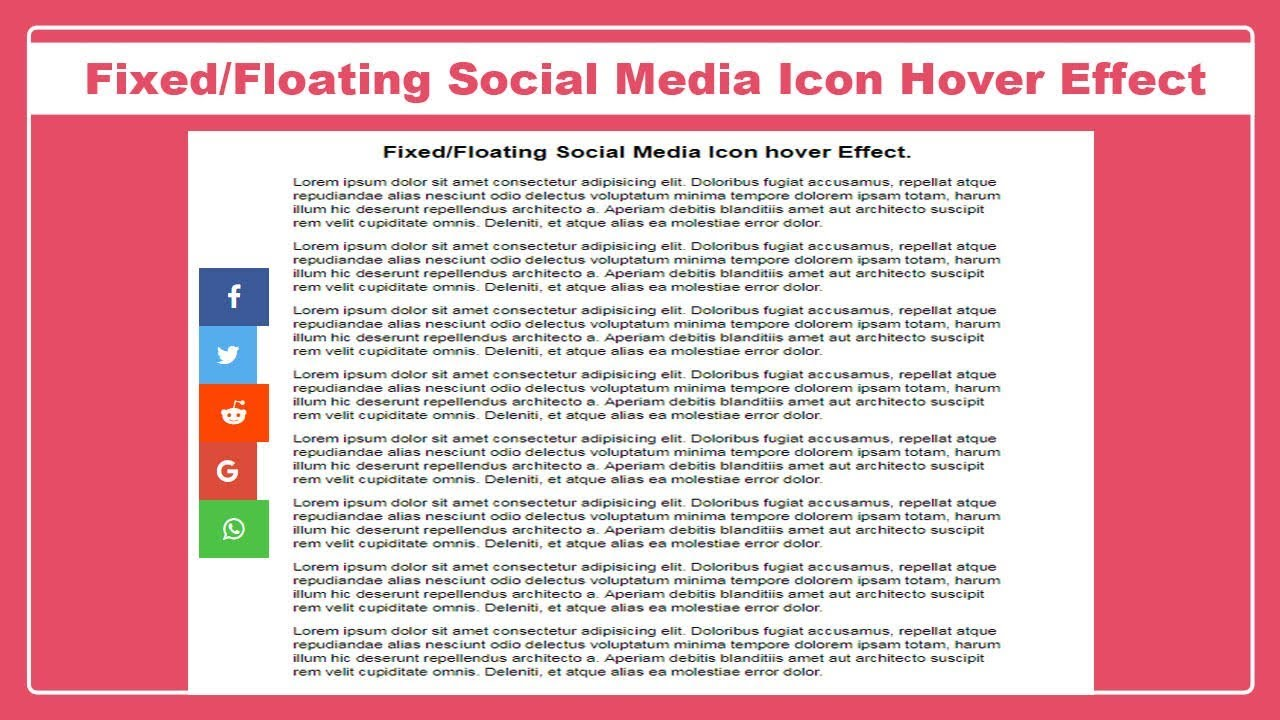 Fixed-Floating Social media Icon hover effect - Social Media Icon hover  effect - sticky menu