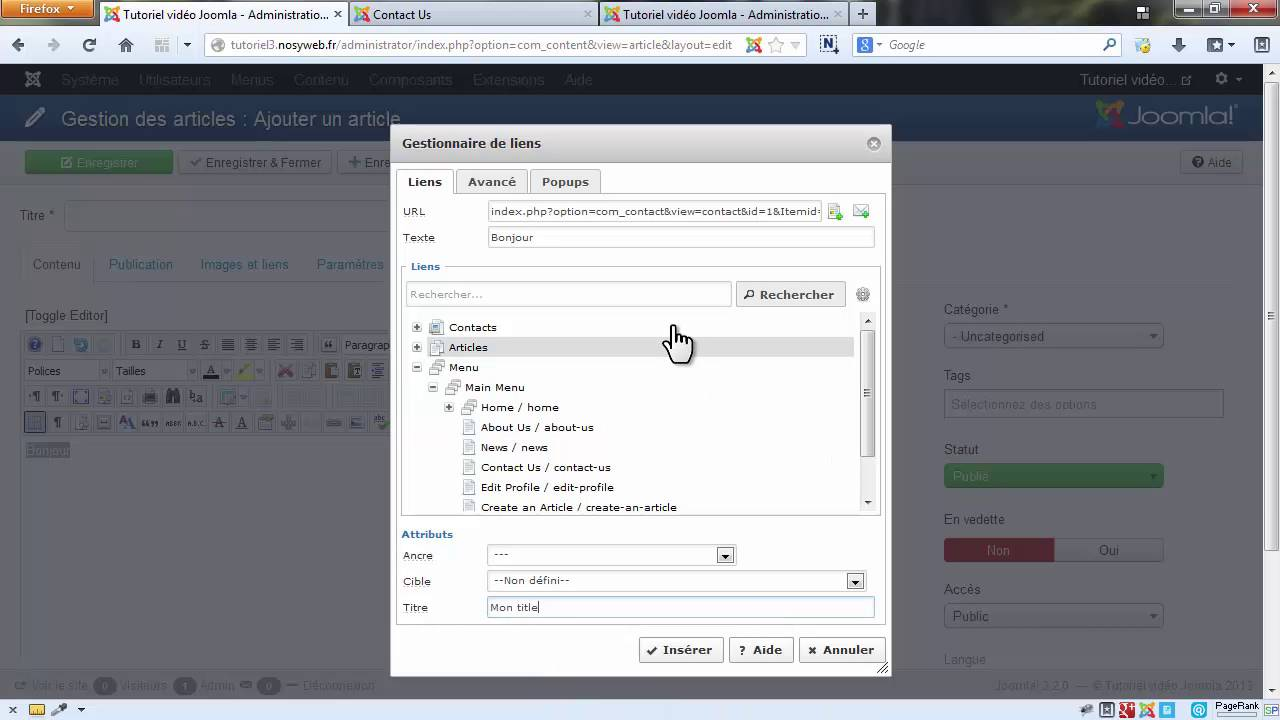 Les fondamentaux Joomla - La création et la gestion de vos liens